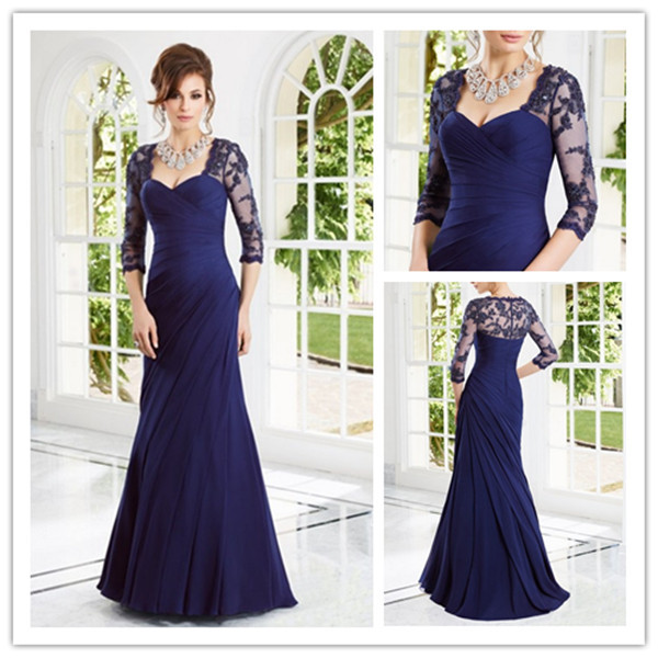 Straight Lace Ruffles Long Sleeves Floor Length Party Prom Evening Dress 2014 Mother Bride Dresses - SuSu D Store store