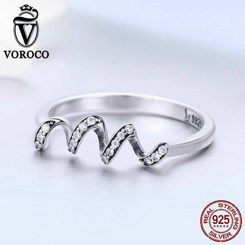 VOROCO รูปดาวอินเทรนด์ Heart Beat แหวน 3A Zircon Real 925 Sterling Silver Wave แหวน Engagement Party เครื่องประดับ Fine aneis