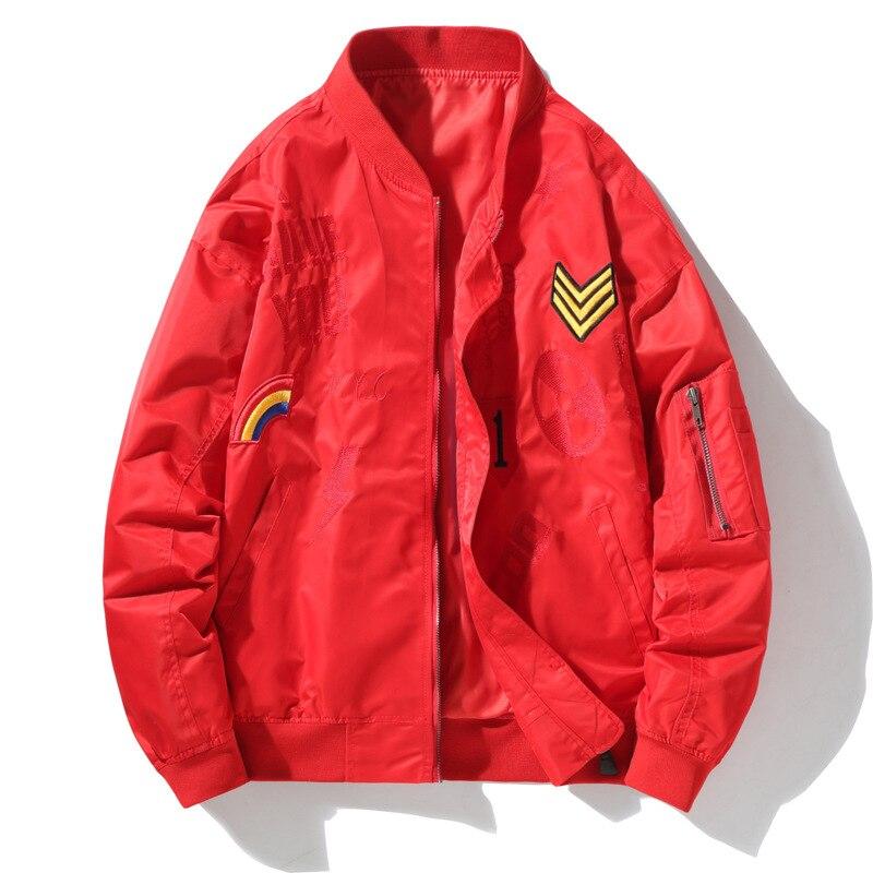 2019 bomber veste pour hommes Air Force pilote veste Baseball veste imprimer solide lettre pour hommes couple Hip Hop Streetwear printemps