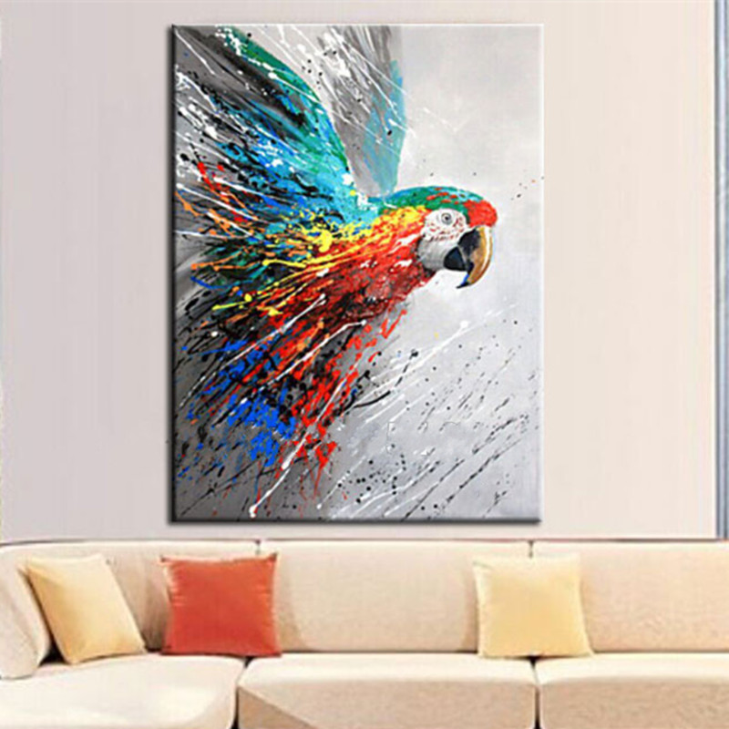 Modern Home Decor Wall Art Handmade Funny Colorful Parrot Pictures Hand Painted Large Abstract Cartoon Oil