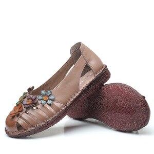 Image 5 - GKTINOO cuero genuino señoras zapatos planos de verano Mujer Slip On Casual mocasines con flores punta redonda sandalias de comodidad suave Mujer