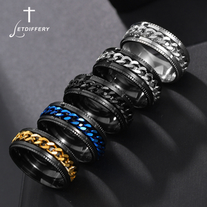 Letdiffery Punk 8mm Spinner Chain Men Rotatable Ring Black Blue Stainless Steel Rotatable Cool Jewelry Party Gift Anel Alliance(China)