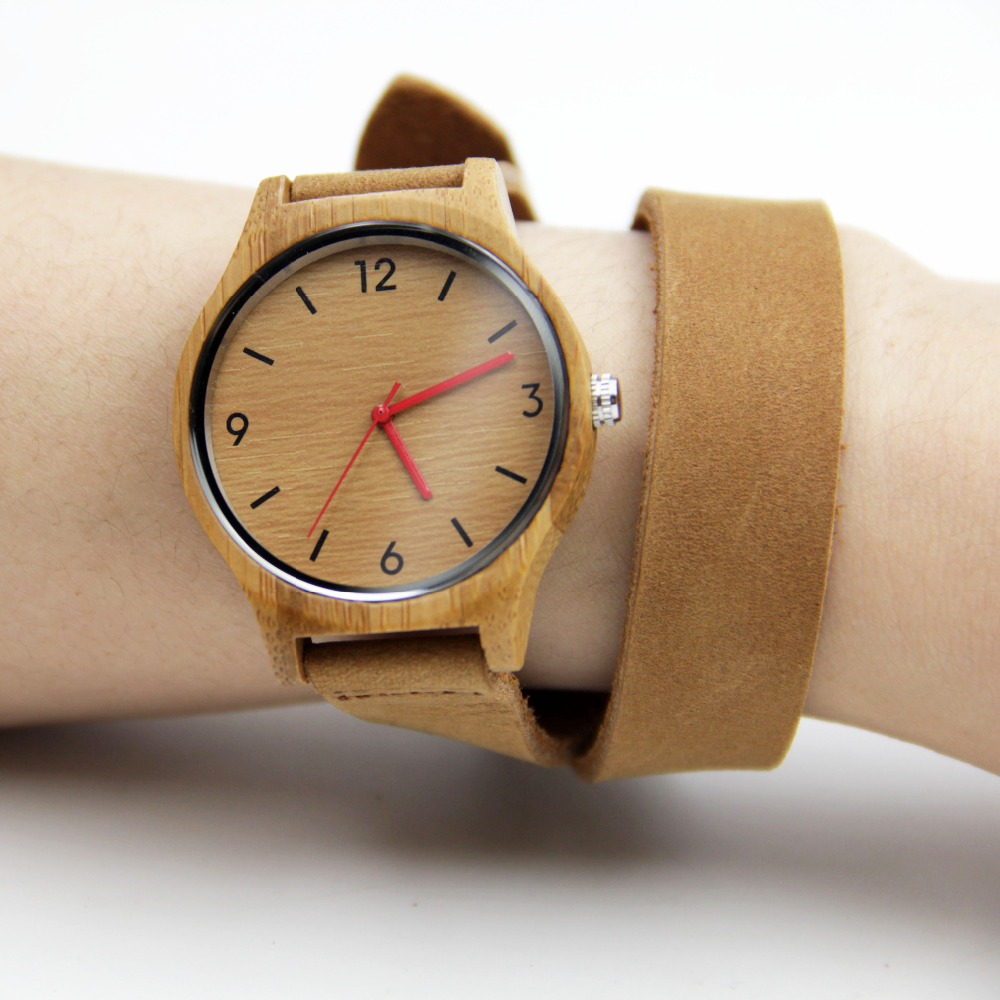 100% Nature Handmade Womens Bamboo Watches Fashion Gifts With Japenese Movement Quartz Wristwatch Genuine Leather Straps