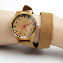 100% Nature Handmade Women's Bamboo Watches Fashion Gifts With Japenese Movement Quartz Wristwatch Genuine Leather Straps