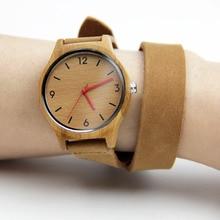 100% Natural Hecho A Mano de Bambú de Las Mujeres Relojes de Moda de Regalos Con Japenese Movimiento Cuarzo Reloj Correas De Cuero Genuino