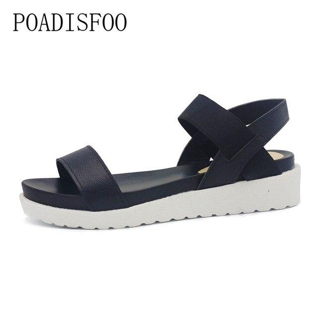 d192523d9b POADISFOO 2018New Spring Summer Women sandals female robe thick platform  buckle with Roman light Black sandals shoes .HYKL-810