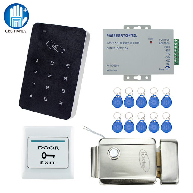 RFID Standalone Access Controller Reader With Metal Control Lock Electronic  Smart Door Locker System Kit Set