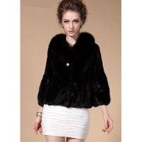 ZY81027 New Arrival Women Real Rex Rabbit Fur Mink Fur With Fox Fur Collar Trimming Winter Solid Fur Warm Short Jackt Coat