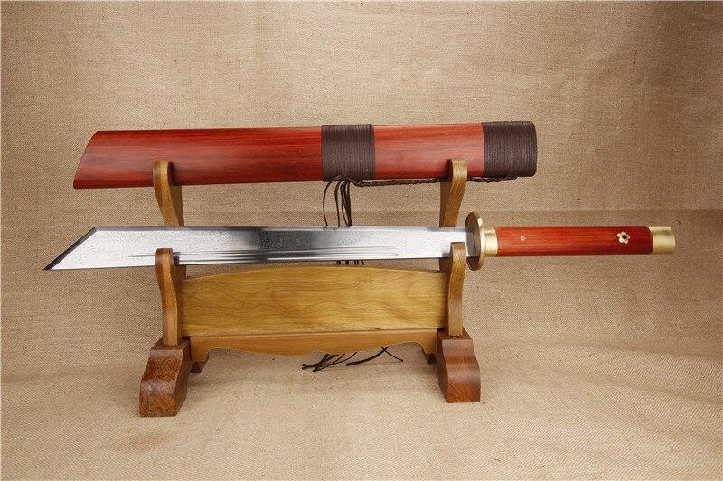 Tradition Chinois épée à la main cuivre raccords Chine épées pliant en acier antique collection main broyage rouge bois