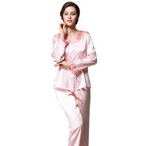 Image 5 - Daeyard נשים משי פיג מה סטי אביב קיץ סתיו נשי תחרה רקום סאטן פיג ארוך שרוול הלבשת Loungewear