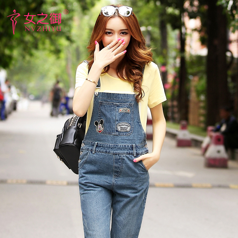 Maternity jeans spring and autumn new cowboy trousers Korean version of large yards loose denim strap pants women summer loose zipper jeans 2017 high quality denim trousers female new retro slim type denim pants pockets scratched