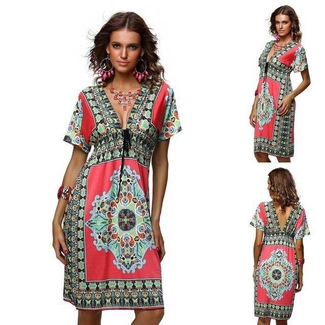 Plus Size Women Sexy V-Neck Summer Floral Print Beach Dress Loose Batwing  Sleeve Bohemian Boho Knee Length Dresses Beachwear 8b1bb68bb6ab