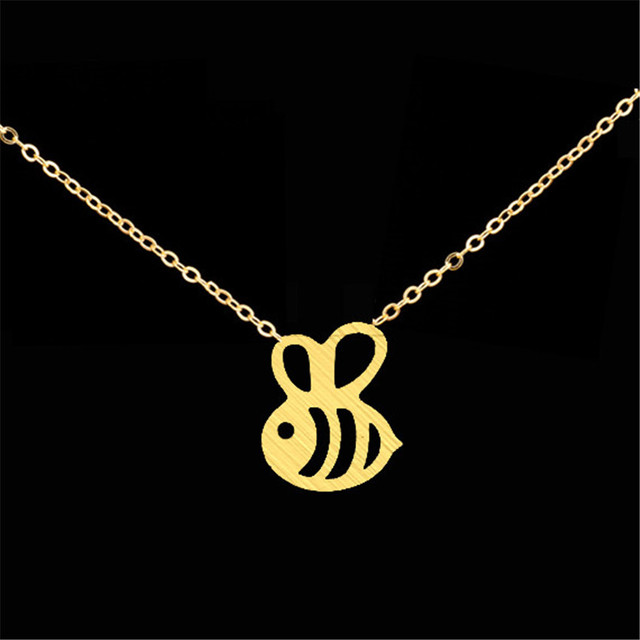 Dainty cute honey bee pendant necklace gold silver color stainless dainty cute honey bee pendant necklace gold silver color stainless steel women jewelry bumblebee collar colar aloadofball Images