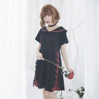 Princess Sweet Lolita Dolly Delly Cross Strap Color Red Dark Black Short Sleeved Summer Dress Dolley