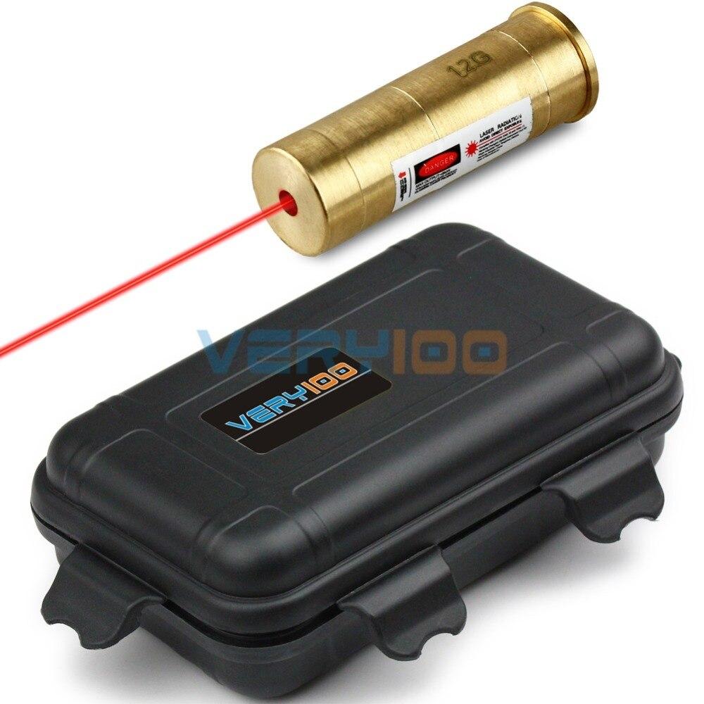 12 Gauge Brass Red Laser Cartridge 12G Boresighter Sight +VERY100 Waterproof Box