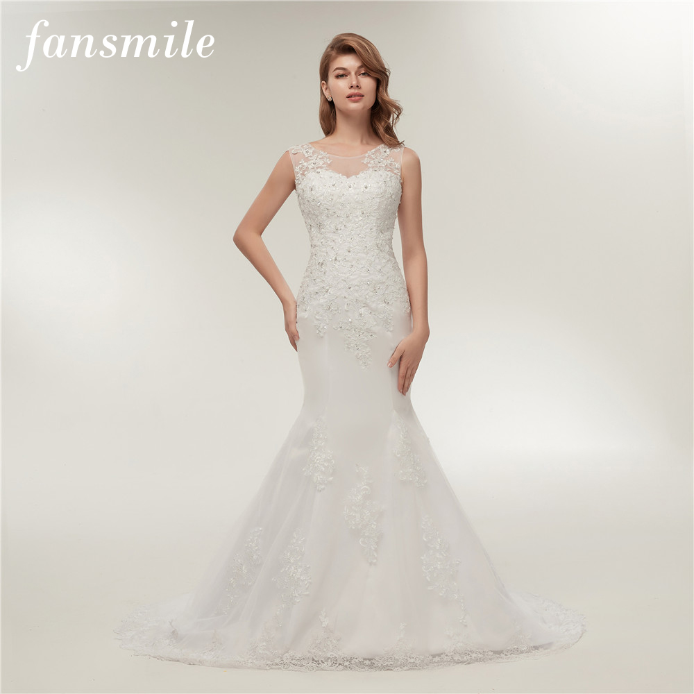 Fansmile Plus Size Customized Lace Up Mermaid Wedding