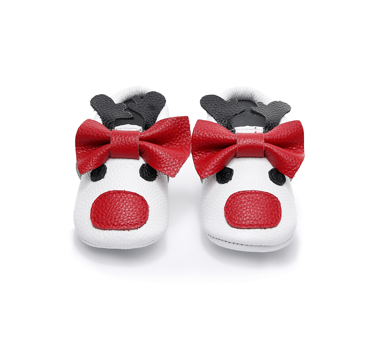 2018 New Baby Moccasins Genuine Leather Bow Red Nose Deer Cartoon Baby Shoes