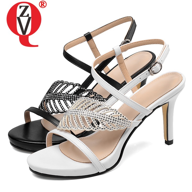 MNIXUAN Classics women sandals genuine leather shoes women summer 2019 elegant pointed toe slip on block