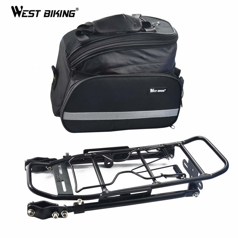 WEST BIKING 25kg Loading Capacity Bike Bicycle Rear Rack Backpack Seat Tail Carrier Trunk Pannier Bag Bike Rack With Package wheel up bicycle rear seat trunk bag full waterproof big capacity 27l mtb road bike rear bag tail seat panniers cycling touring