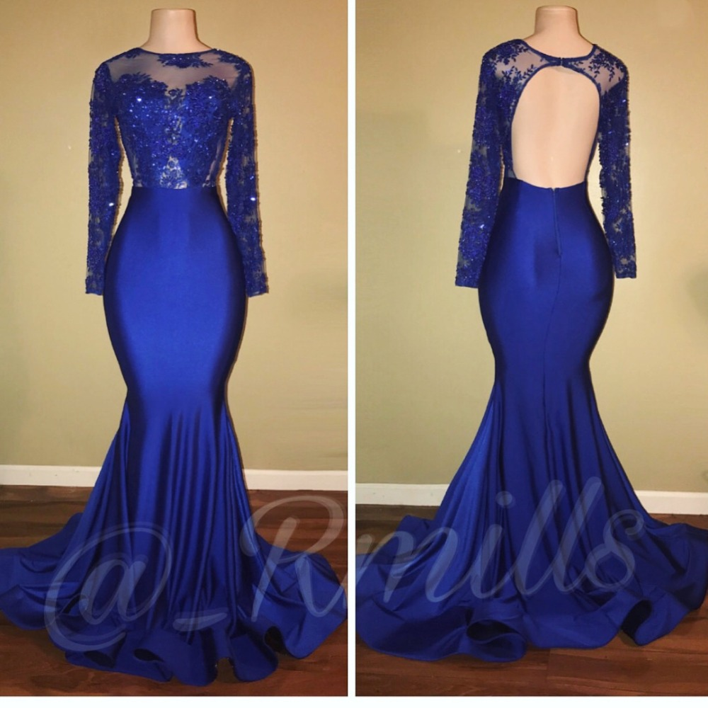 2019 Gorgeous Royal Blue Beading Mermaid   Prom     Dresses   Long Sexy Backless Lace Appliques Evening Party   Dresses   Vestidos De Gala