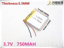 Free shipping Polymer battery 750 mah 3.7 V 553538 smart home MP3 speakers Li-ion battery for dvr,GPS,mp3,mp4,cell phone,speaker
