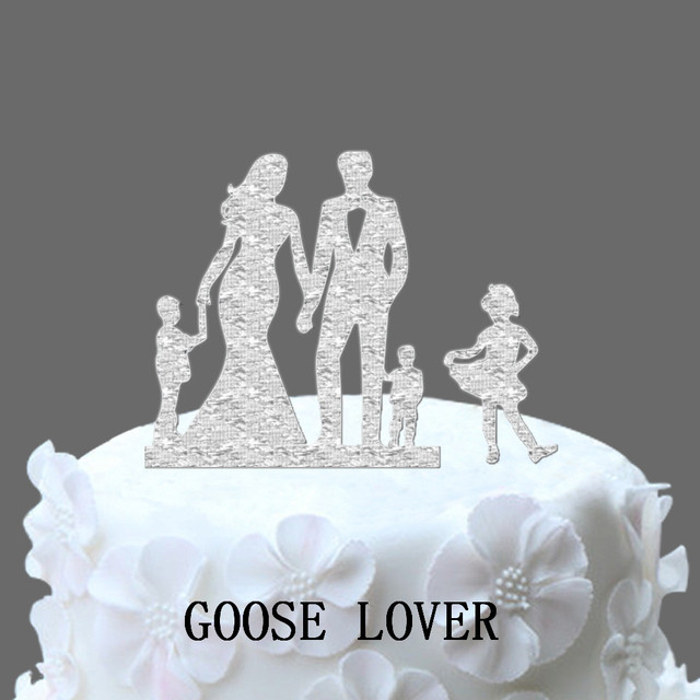 Family Wedding Cake Topper With Two Boy And One Girl, Wedding ...