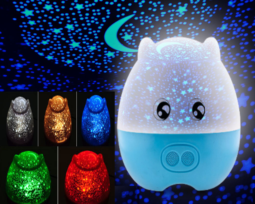 Lovely pig shape baby star rotating projector night light rechargeable with speaker multifunction christmas gift for kids in night lights from lights