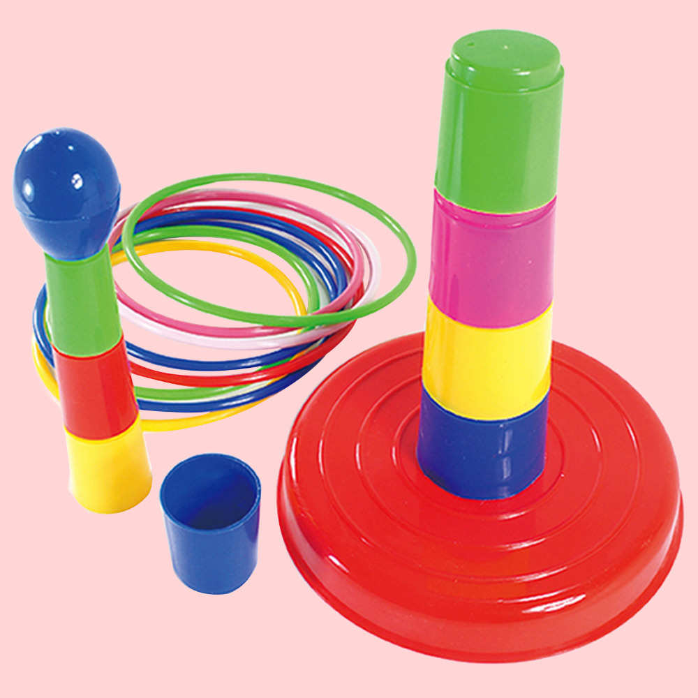 18 PCS Colorful Plastic Hoop Ring Toss Game Toys Set Outdoor Sport Games Gymnastic Ring Toss Quoits Fun Set