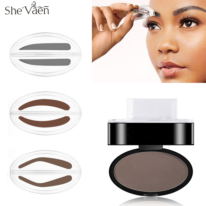 Quick Brow Stamp Makeup Eyebrow Powder Seal Palette Natural Stencil Kit Tool 3 Shapes Option