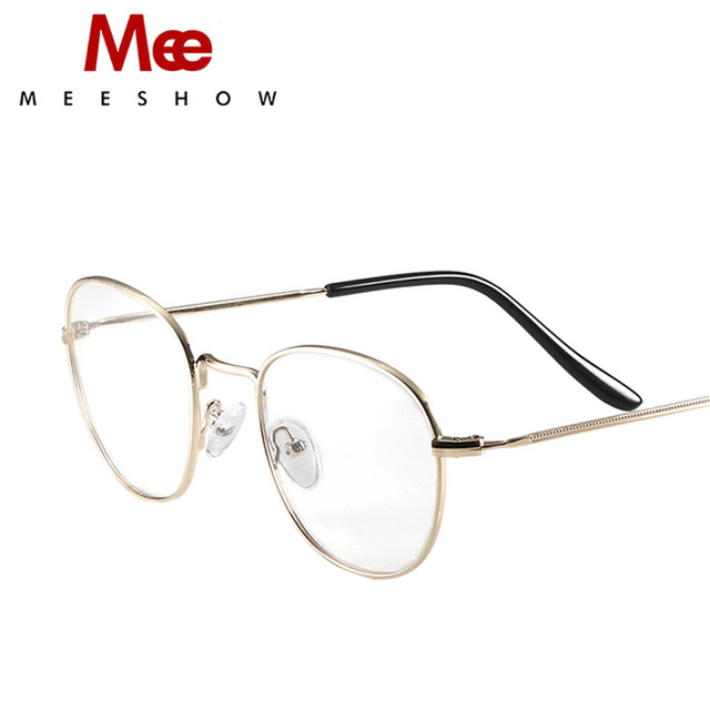5f7978cdbc MEESHOW High Quality men women round optical frame Gold Elegant Eyeglasses  Lunettes Custom lens Prescription Glasses