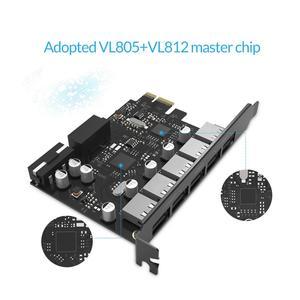 Image 2 - ORICO USB 3.0 PCI E 5 יציאות רכזת מתאם חיצוני בקר אקספרס כרטיס עם 4 פינים מחבר מתח כבל