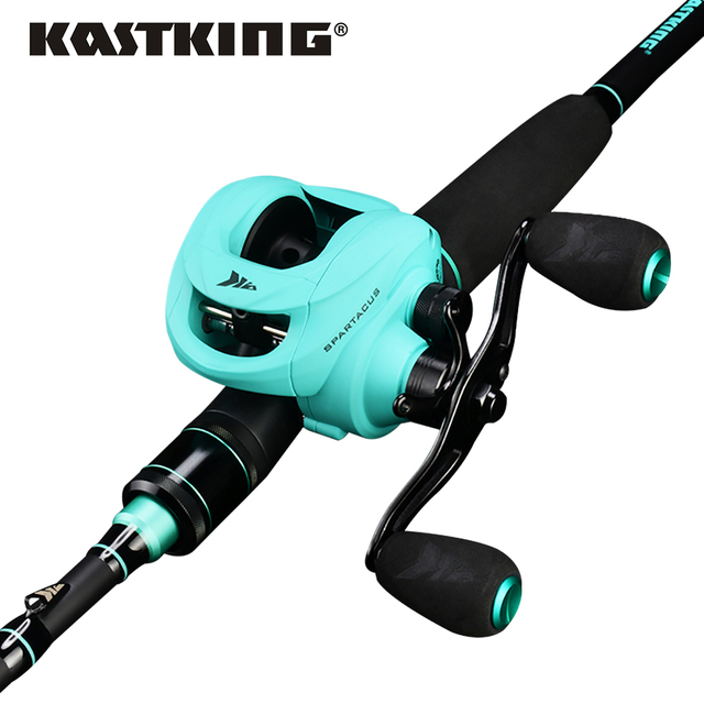 KastKing Spartacus Fishing Reel Rod Combo 12BBs Dual Brake System Baitcasting Reel and 1.98m 2.13m Carbon Casting Fishing Rod