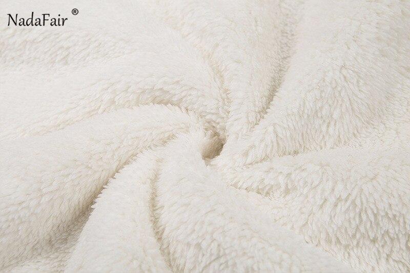 Nadafair Long Sleeve White Cropped Hoodie Women Autumn Winter Pullover Short Sweatshirt Plush Zipper Faux Fur Fluffly Sweatshirt 17