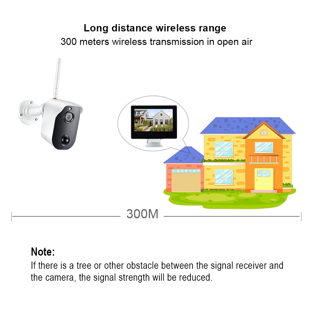 "ANRAN 1080P Wire Free Camera System 9"" LCD NVR 2.0MP Battery Powered Security Camera Two-way Audio Wifi Surveillance Camera Kit"
