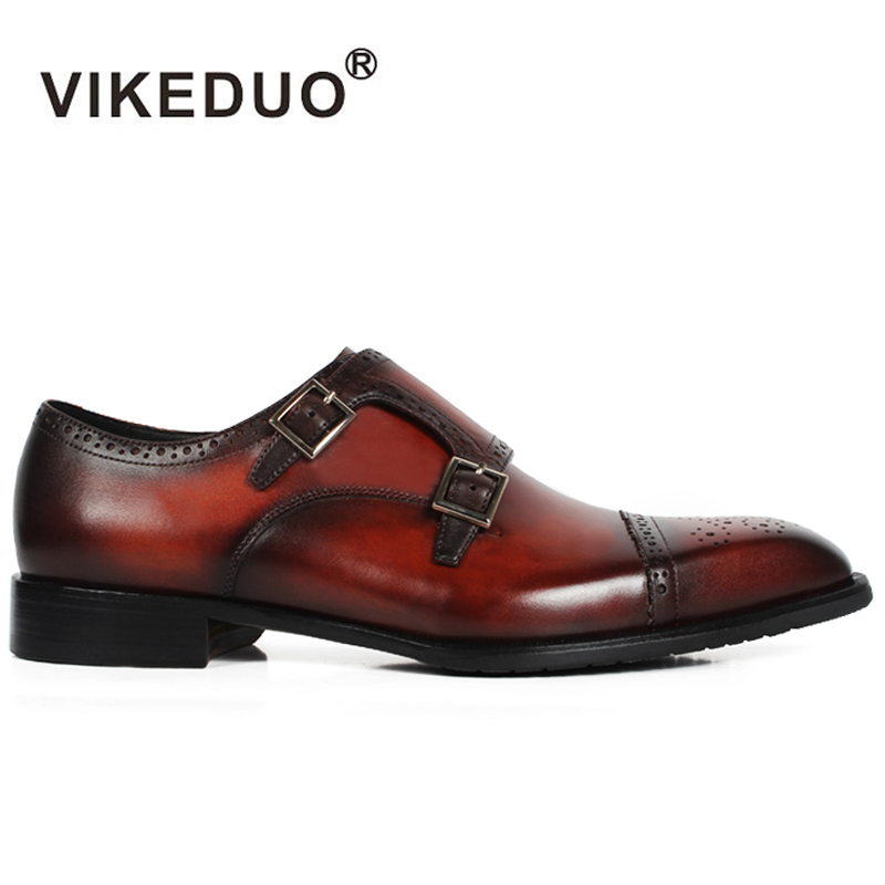 VIKEDUO handmade hot Mens Monk Shoes custom made 100% Genuine Leather Brogue office dress party wedding shoes original design ensemble stars 2wink cospaly shoes anime boots custom made