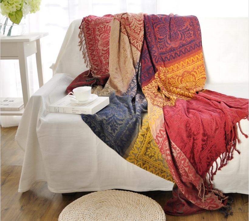 Throw Rugs On Sofas: Bohemian Blanket Sofa Cover Jacquard Knit Throw Geometric