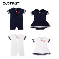 Baby Boy Girl Clothes Summer Short Sleeves Sailor Navy Style Rompers Dresses Bodysuits Outfit Infant Jumpsuit