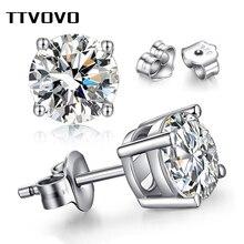TTVOVO 925 пробы серебряные серьги с цирконием кубической огранки для женщин мужчин пирсинг CZ 4 когти серьги гвоздики Brinco ювелирные изделия