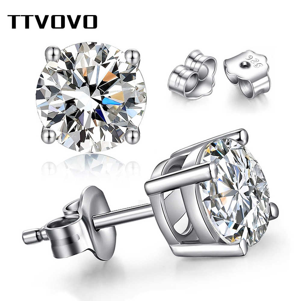 TTVOVO 925 Sterling Silver Princess Cut Cubic Zirconia Stud Earrings for Women Men Piercing CZ 4 Claws Stud Ear Brinco Jewelry
