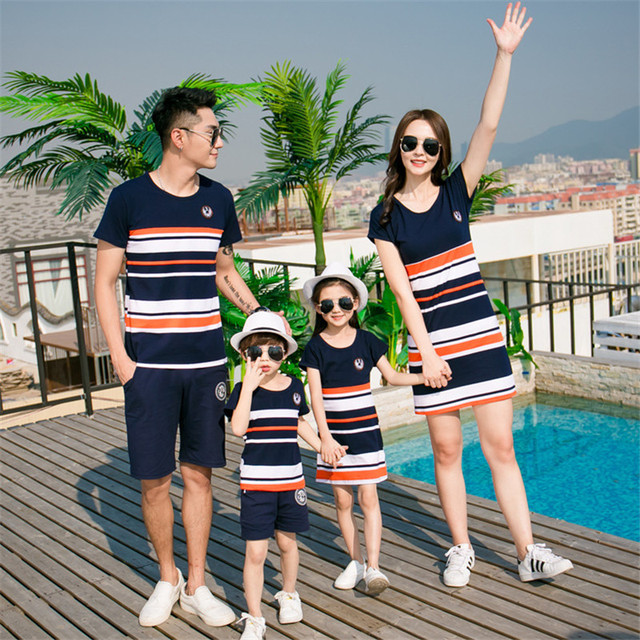Mother Daughter Clothes Summer Family Look Cotton T-shirt Dress Outfits Daddy Kids Family Matching Clothes H0153