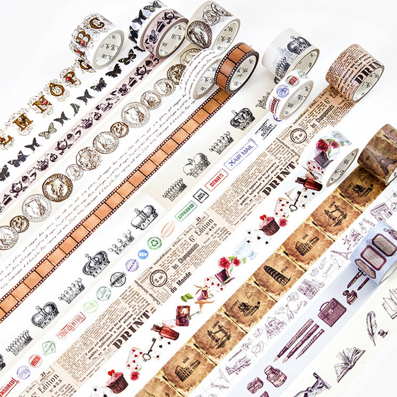 1.5-3cm*5-7m Vintage Gothic Coin Washi Tape DIY Decorative Scrapbooking Planner Masking Adhesive Tape Label Sticker Stationery