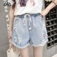 EAD эластичный пояс тонкий бедра летние джинсовые шорты для женщин Повседневное плюс размеры Винтаж Жан Harajuku отверстие прямые шорты, брюки