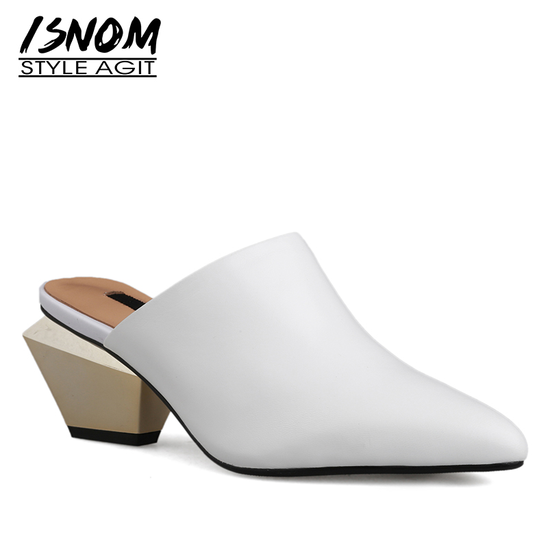 ISNOM Sheepskin Slippers Woman Pointed Toe Footwear Unusual Heel High Slides Shoes Female Mules Shoes Women