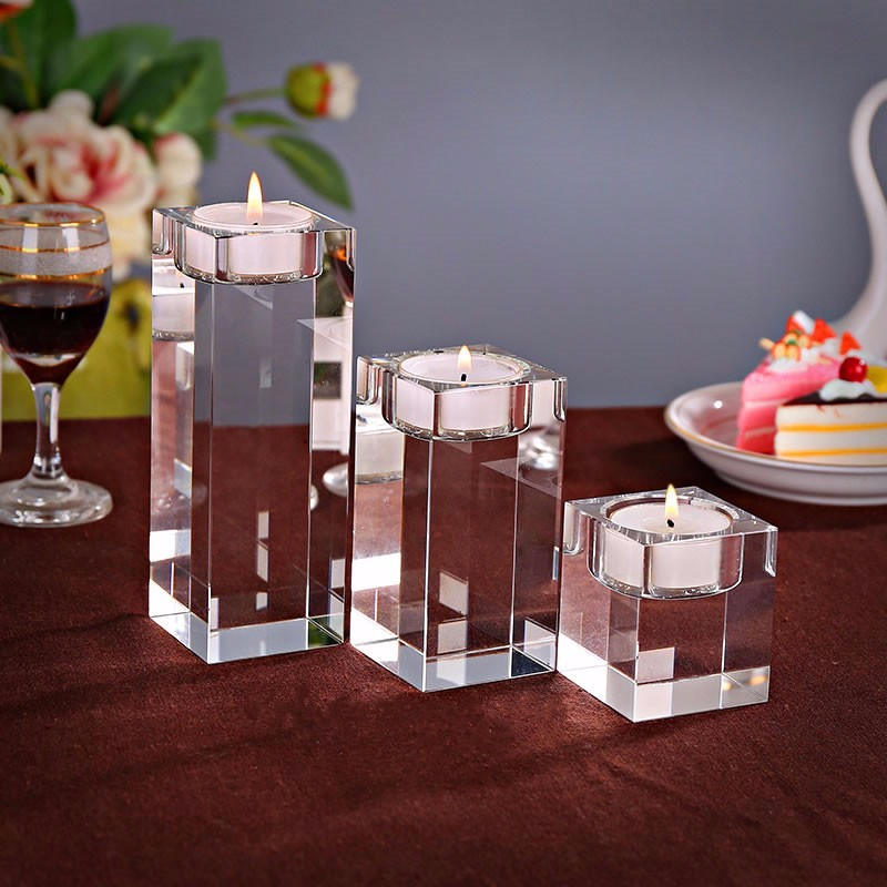 Clear Quartz Crystal Cube Tealight Candle Holder Glass