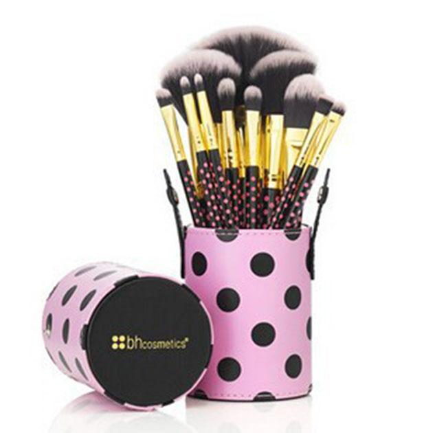 20 set/lote profesional bh color púrpura 11 unids de cepillo del maquillaje herramientas maquillaje kit del artículo de tocador de lana marca maquillaje pinceles set caso