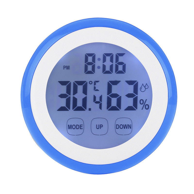 ABS+Back Magnet 90*90*26mm Digital Temperature Humidity Time Wall For Bedroom +/-1C Accuracy Function Clocks 2018