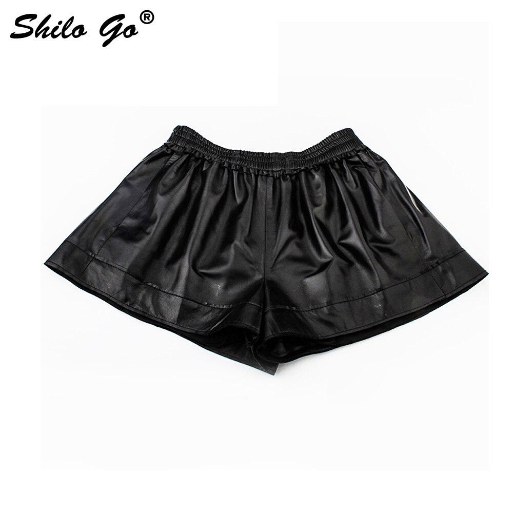 SHILO GO Leather Shorts Womens Autumn Fashion Sheepskin Genuine Leather Shorts Sexy Stretch Waist High Waist Wide Leg Shorts
