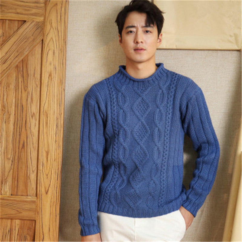 100%hand Made Pure Wool Oneck Twisted Knit Men Solid Brief H-straight Pullover Sweater One&over Size