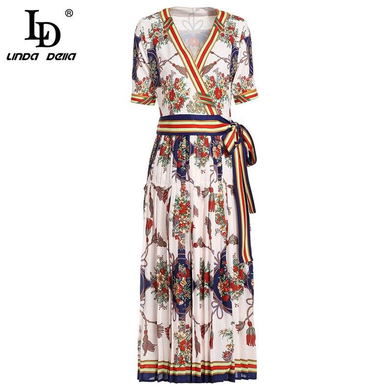 LD LINDA DELLA 2019 Summer Dress Women's V Neck Sexy Elegant Striped Floral Print Pleated Vintage Belted Wrap Dress vestidos