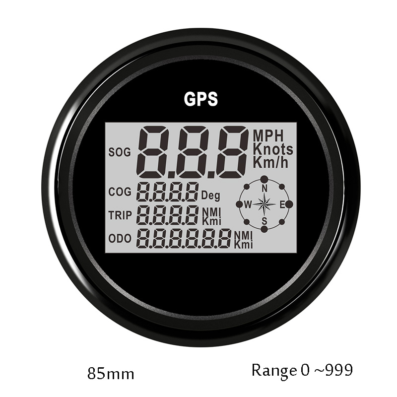 Motorcycle GPS Speedometer Car Digital LCD Speed Gauge 0-999 knot kmh mph Compass for Car Truck Boat with GPS Antenna 12v 24v 85mm car gps speedometer truck boat digital lcd speed gauge knots compass with gps antenna
